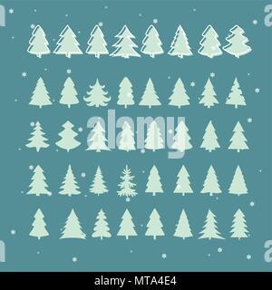 Set di verde albero di Natale. Illustrazioni vettoriali Foto Stock