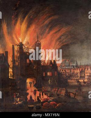 B1976.7.27 596 il Grande Incendio di Londra, con Ludgate e Old San Paolo Foto Stock