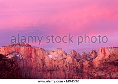 Il Tempio ad ovest e le torri della Vergine all'alba, Parco Nazionale Zion, Utah Foto Stock