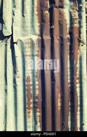 Texture di sfondo del vecchio lamiere di zinco, vintage immagine del filtro Foto Stock