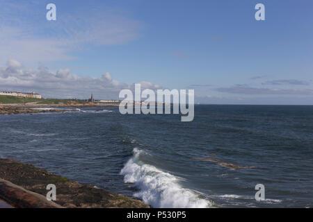 Vista nord dal molo di Tynemouth. Foto Stock