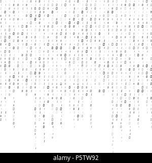 Il codice binario del flusso dati in background design vettoriali Foto Stock