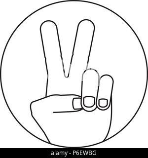 Mano con due dita in su nella pace o vittoria icona di simbolo su sfondo bianco, illustrazione vettoriale Foto Stock