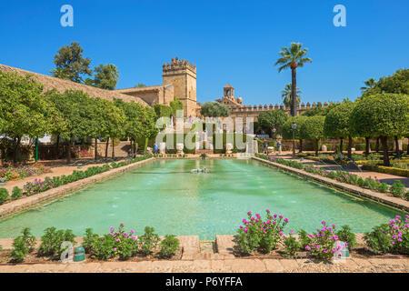 Giardini dell'Alcazar dei Re Crhistian (Alcazar de los Reyes Cristianos), Cordoba, Andalusia, Spagna Foto Stock