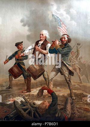 Originariamente intitolato Yankee Doodle, questa è una delle diverse versioni di una scena dipinta da Archibald MacNeal Willard nel tardo XIX secolo che è venuto a essere conosciuta come lo spirito del '76. Spesso imitati o messa in ridicolo, è una delle più famose immagini relative alla guerra rivoluzionaria americana. La vita di dimensioni pende originale in Abbot Hall a Marblehead, Massachusetts. Il tricolore nella pittura, spesso assunto essere il Betsy Ross bandiera, è in realtà il flag di Cowpens attraversato nel corso di un importante punto di svolta nella guerra, la battaglia di Cowpens. N/A 76 dallo spirito di '76,2 Foto Stock