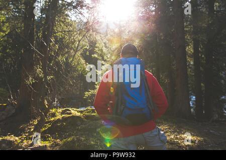 Escursionismo uomo con zaino blu e maglione rosso nella foresta Foto Stock