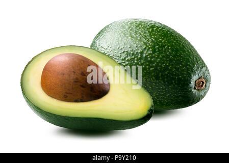 A forma di pera avocado 2 Metà e intero isolato su sfondo bianco Foto Stock