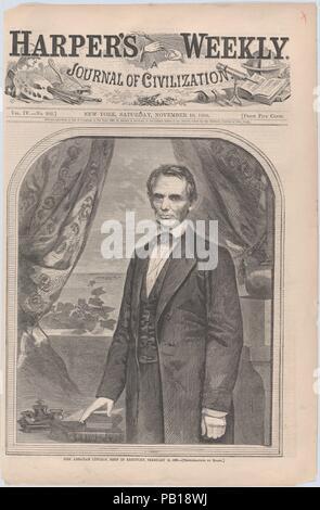 L'on. Abraham Lincoln, nato nel Kentucky, 12 febbraio 1809 (Harper's Weekly, Vol. IV). Artista: dopo una fotografia da Mathew B. Brady (American, nato in Irlanda, 1823?-1896 New York). Dimensioni: foglio: 15 15/16 x 10 1/2 in. (40,5 x 26,6 cm) immagine: 10 7/8 x 9 3/16 in. (27,7 x 23,3 cm). Ex attribuzione: precedentemente attribuito a Winslow Homer (American, Boston, Massachusetts 1836-1910 Prouts collo, Maine). Editore: Harper's settimanale (American, 1857-1916). Data: Novembre 10, 1860. Museo: Metropolitan Museum of Art di New York, Stati Uniti d'America. Foto Stock