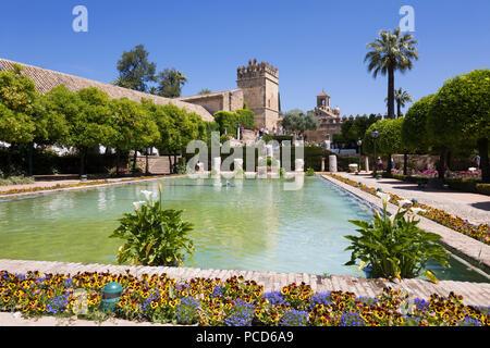 Giardini dell'Alcazar de los Reyes Cristianos, Sito Patrimonio Mondiale dell'UNESCO, Cordoba, Andalusia, Spagna, Europa Foto Stock