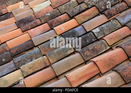 Close up di pan tetto di tegole nel sud della Francia. Foto Stock