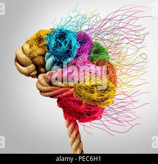 Il brainstorming e il concetto di brainstorming o la psicologia come simbolo di un Creative mente umana fatta di corda e filo in un 3D illustrazione dello stile. Foto Stock