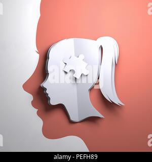 Carta piegata arte origami. La silhouette di una testa di donna con un pezzo di puzzle. Conceptual mindfulness 3D'illustrazione. Foto Stock