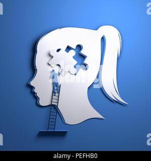 Carta piegata arte origami. La silhouette di una testa di donna con una persona aggiunta di un pezzo di puzzle. Conceptual mindfulness 3D'illustrazione. Foto Stock