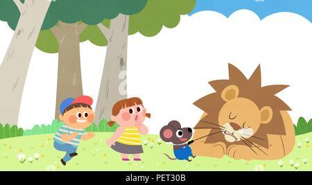 Vettore - Bambini i sogni di un paesaggio fiabesco, essi vivono in una favola illustrazione 020 Foto Stock
