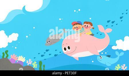Vettore - Bambini i sogni di un paesaggio fiabesco, essi vivono in una favola illustrazione 018 Foto Stock