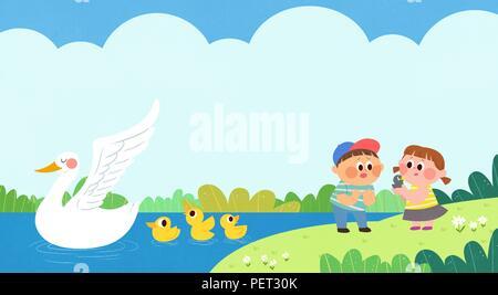 Vettore - Bambini i sogni di un paesaggio fiabesco, essi vivono in una favola illustrazione 015 Foto Stock