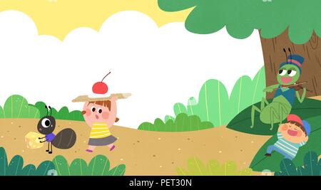 Vettore - Bambini i sogni di un paesaggio fiabesco, essi vivono in una favola illustrazione 014 Foto Stock