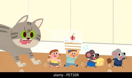Vettore - Bambini i sogni di un paesaggio fiabesco, essi vivono in una favola illustrazione 013 Foto Stock