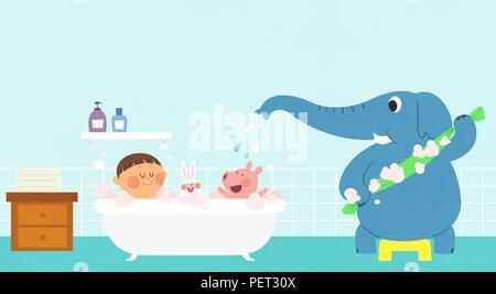 Vettore - Bambini i sogni di un paesaggio fiabesco, essi vivono in una favola illustrazione 011 Foto Stock