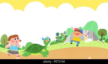 Vettore - Bambini i sogni di un paesaggio fiabesco, essi vivono in una favola illustrazione 003 Foto Stock