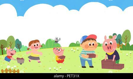 Vettore - Bambini i sogni di un paesaggio fiabesco, essi vivono in una favola illustrazione 001 Foto Stock
