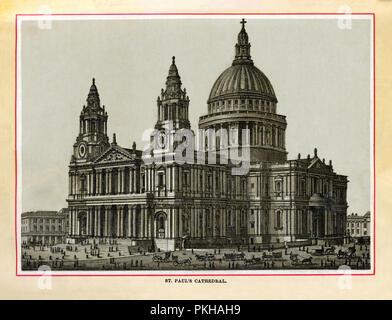 La Cattedrale di St Paul, 1880 in acciaio di alta qualità di incisione della chiesa costruita da Christopher Wren e terminato nel 1715 dopo il Grande Incendio di Londra nel 1666 distrusse l'edificio medievale Foto Stock