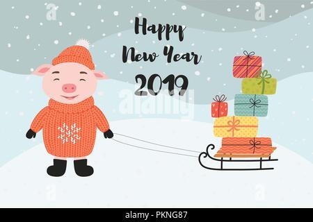 Buon Natale e Felice Anno Nuovo biglietto di auguri con il maiale, doni, neve, scritte, cartoon illustrazione vettoriale. Foto Stock