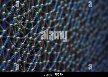 3D'illustrazione. Immagine astratta di sfere interconnesse nel concetto di scienza. Foto Stock