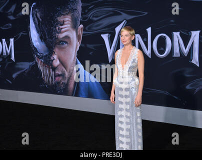 "LOS ANGELES, CA. Ottobre 01, 2018: Michelle Williams a premiere mondiale per ""Venom"" al Regency Village Theatre. Immagine: Paul Smith/Featureflash Foto Stock"