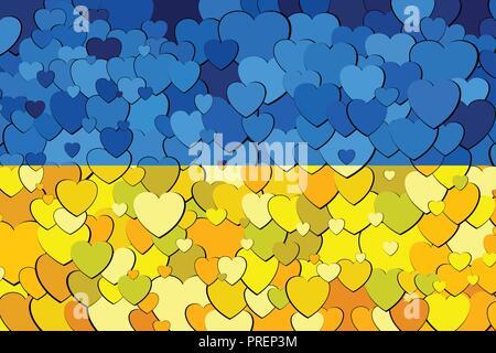 Ucraina bandiera fatta di cuori di sfondo - Immagine, Abstract grunge bandiera ucraino Foto Stock