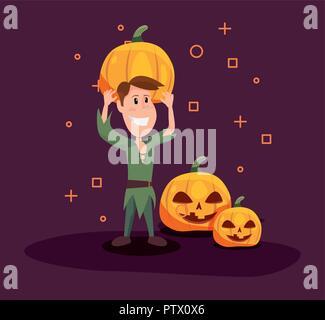 Happy halloween peter pan azienda simboli zucca sfondo illustrazione vettoriale Foto Stock