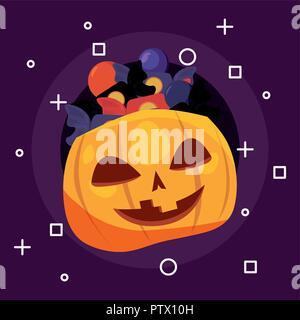 Happy halloween candys simboli zucca illustrazione vettoriale Foto Stock