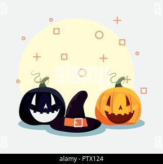 Happy halloween witch hat zucche simboli sfondo illustrazione vettoriale Foto Stock