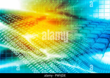 Abstract sfondo con cifre binarie e della tastiera del computer Foto Stock