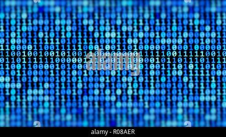 Codice binario corrente, sfondo astratto Foto Stock
