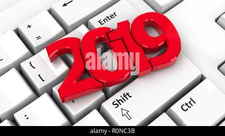 2019 icona sulla tastiera del computer sullo sfondo rappresenta il nuovo anno 2019, tridimensionale, rendering 3D illustrazione Foto Stock