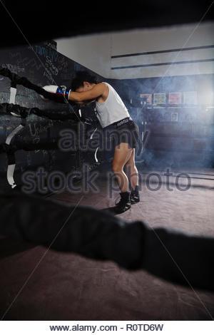 Stanco boxer femmina in appoggio nel pugilato ring Foto Stock