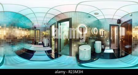 MINSK, Bielorussia - 11 settembre 2012: 360 gradi nel panorama equirettangolare proiezione sferica in un elegante bagno in colori al neon Foto Stock