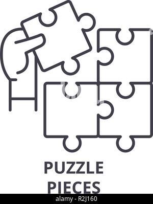I pezzi del puzzle icona linea concept. I pezzi del puzzle vettore illustrazione lineare, simbolo segno Foto Stock