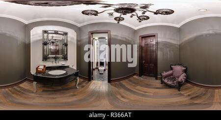 MINSK, Bielorussia - 11 settembre 2012: 360 panorama equirettangolare sferica proiezione equidistante in interier restroom moderno Foto Stock