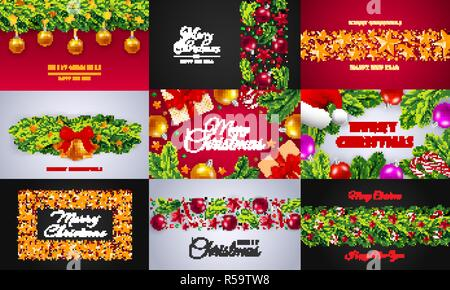 Celebrare Natale allegro set di banner. Illustrazione realistica di celebrare il Natale allegro vettore set di banner per il web design Foto Stock