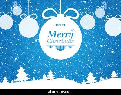Buon Natale di sfondo blu nella foresta e nevi doni. illustrazione eps vettoriali10 Foto Stock