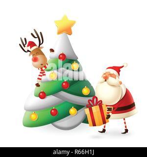 Santa Claus mettere doni sotto albero di Natale - illustrazione di vettore isolato su bianco Foto Stock
