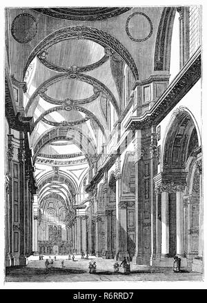 Gli interni della cattedrale di St Paul, Londra, è una cattedrale anglicana, la sede del vescovo di Londra e la chiesa madre della diocesi di Londra. Si siede su Ludgate Hill nel punto più alto della città di Londra. La sua dedizione a Paolo Apostolo risale alla chiesa originaria su questo sito, fondata in ANNUNCIO 604. L'attuale cattedrale risalente alla fine del XVII secolo, è stato progettato in inglese in stile barocco da Sir Christopher Wren. La sua costruzione completata nel Wren's lifetime, era parte di un grande programma di ricostruzione della città dopo il Grande Incendio di Londra. Foto Stock