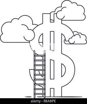 Nuvole con simbolo del dollaro e la scaletta Foto Stock