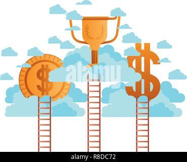 Golden denaro le icone con le nuvole e scale Foto Stock