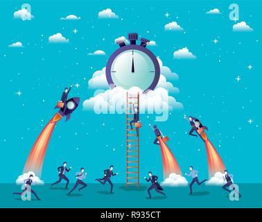 Imprenditori battenti in razzi start up con cronometro Foto Stock