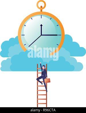 Imprenditore con scale e orologio carattere avatar Foto Stock