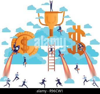 Imprenditori con golden denaro e scale carattere Foto Stock