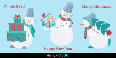 Set di pupazzi di neve su sfondo blu. Pupazzo di neve con doni, maiale e pelliccia-tree. Felice Anno Nuovo. Auguri di Buon Natale Foto Stock